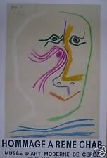 Picasso Pablo Affiche Lithographie Mourlot René CHAR exposition à Ceret Czw 348