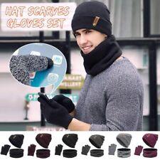 3Pcs/Set Warm Winter Beanie Hat Cap Scarf Women Men Neck Warmer Gloves Fashion