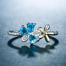 Fashion Women Wedding Ring Two Tone 925 Silver Jewelry Aquamarine Ring Size 6-10