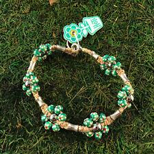 HOTI Hemp Handmade Green Painted Flowers Wood Bead Floral Anklet Ankle Bracelet
