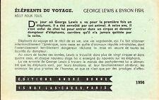 Document vieux papier George Lewis dompteur cirque  &  Byron Fish 1956