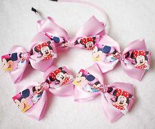 Handmade NEW girl children Minnie Mouse ribbon bow hair clips bobbles headband
