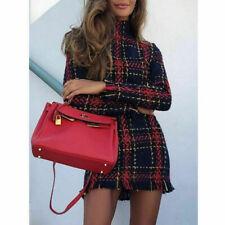 Damen Rollkragen Party Langarm Kleid Mini Abendkleid Winter Kariert Stiefelkleid