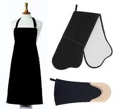 """Belle Textiles Calidad """"Negro"""" - Delantal-Horno Guantes-Guantelete-hecho en el Reino Unido"""