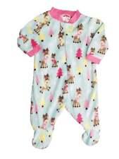Holiday Time Baby Girls Mint Pink Fleece Reindeer Sleeper Christmas Pajamas