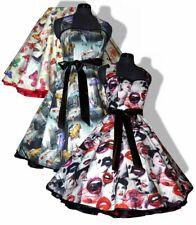 50er Jahre Petticoatkleid 34-44 Motive Kussmund Schmetterlinge Autos