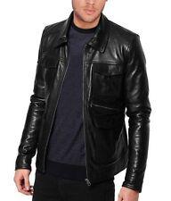 New Sexy Men's Shirt Collar Soft Black Lambskin Leather Designer Jacket Coat