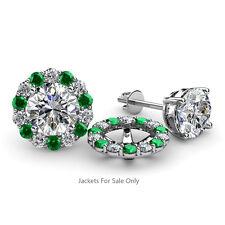 Green Garnet & Diamond Halo Jacket for Stud Earrings 0.88 ct tw in 14K Gold