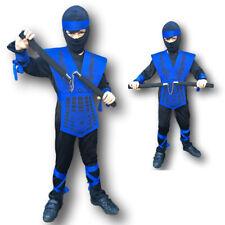 Jungen Power Blau Ninja Kombat Samurai Krieger Kinder Kinder Kostüm Kostüm
