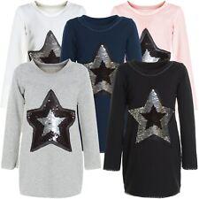 Mädchen Wende Pailletten Long Shirt Pullover Langarm Sweat Shirt Kleid 20961