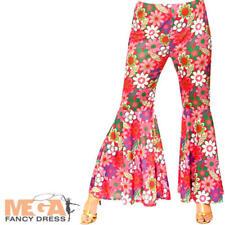 Flower Power Hippie Trousers Ladies Fancy Dress Hippy Flares 60s 70s Costume Ac