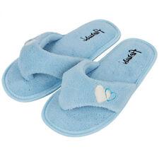 IceBlue Women's Fleece Plush Spa Thong Flip Flops Slippers Bedroom House Shoes