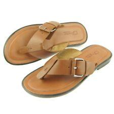 Charles Stone Genuine Leather Men's Flip-Flop Sandals, Tan 7-12US/40-45EU