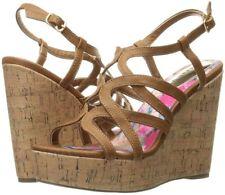 Madden Girl Women's Elmaa Cognac Cork Wedge Sandals - Size 10 - NWB