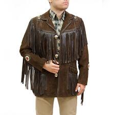 Mens Cowboy Native American Fringe Style Western Chocolate Brown Coat Jacket