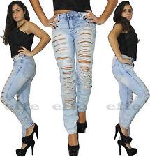 Jeans donna strappati vita alta Denim skinny slim colore cielo strappi nuovo