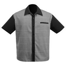 STEADY CLOTHING Bad News Felix Button Up Bowling Shirt Black S-3XL NEW