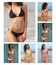 SeXy Neckholder Slip Bikini mit 2 Strassketten NEON Strass 36 38 40 S M L SeXy