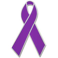 PinMart's Purple Awareness Ribbon Enamel Lapel Pin