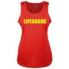 LADIES LIFEGUARD RED COOLTEX VEST TOP - RACER BACK BEACH PARTY FANCY DRESS