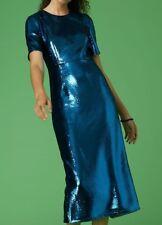 NEW Diane von Furstenberg DVF Tailored SEQUIN Midi Dress Denim Blue Navy 4