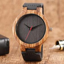 Top Gift Wood Watches Men's Unique 100% Nature Wooden Bamboo Handmade Quartz ...