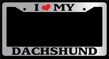 Chrome License Plate Frame I heart My Dachshund Auto Accessory Novelty 363