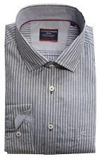 Casa Moda Premium Cotton Comfort Fit Striped Shirt in Grey in Size XXL to 6XL