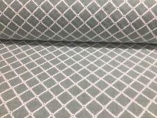 Mooring Aqua Trellis Embroidered Linen 140cm Wide Curtain Upholstery Fabric