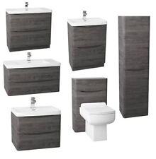 New Modern Bathroom Graphite Oak Furniture Storage Cabinets Sink Vanity Unit WC
