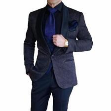 Men's Black Jacket Jacquard Paisley Tuxedos Groom Wedding Suit British Style