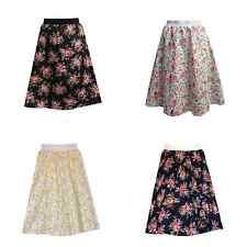 Falda Para Mujer A-Line Floral Print Elástico Cintura Falda Midi Floral Retro Vintage