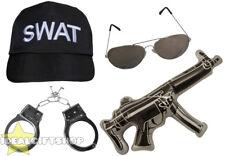 Adultos Swat Juego de accesorios de policía Ejército Gorra FBI Negro Fancy Dress Militar Lote
