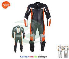 COURSE combinaison cuir SBK Costume Style Orange Noir équitation cuir vêtements