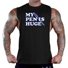 Men's My Pen Is Huge Black T-Shirt Tank Top Funny College Humor Penis Bar Rave