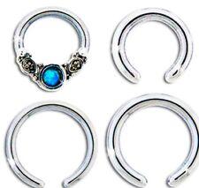 """16g/14g 1/4"""" & 5/16"""" PETITE Captive Hoop Sim Opal Cartilage Ear Piercing Pack"""