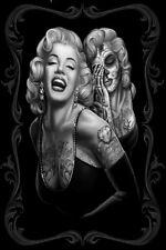 Marilyn Monroe Skull Tattoo Queen Art Deco poster silk print 60x90 cm