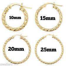 9 Carat Yellow Gold Ladies Round Hoop Earrings Hallmarked 10mm - 25mm NEW