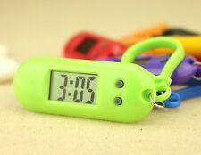 Silver Tone green Plastic Oval Shaped LCD Display Digital date Clock Keychain