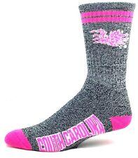 4cf3514f0 South Carolina Gamecocks NCAA Gray Marbled Pink 2 Stripe Crew Socks