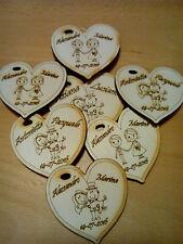 cuori in legno sposini nomi sposo sposa incisione caricatura