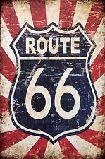 ROUTE 66  advertising retro vintage metal sign