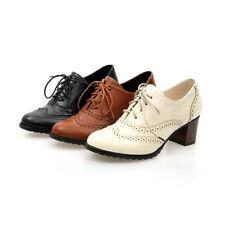 Ladies UK retro vintage block heels ankle pumps dress shoes brogues size 2.5-7 #