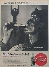 PUBLICITE COCA COLA INGENIEUR OUVRIER METALLURGISTE DE 1958 FRENCH AD VINTAGE