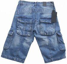 Mens Eto Denim Combat Fashion Shorts - EMS604 Light Stonewash Blue