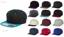 Flexfit - Structured One Ten Flat Bill Hat Snapback Cap with sweatband- 110F