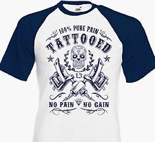 Tee Shirt TATTOOED 100% PURE PAIN - Tattoo Tatouage Dermographe Calavara