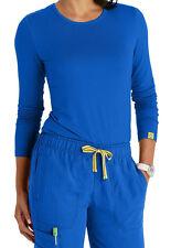WonderWink Medical Scrub Layers Royal Blue Silky Long Sleeve Tee Sz XS-XXL NWT