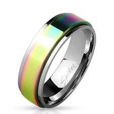 AF Edelstahl Ring silber 8mm breit Spinner Regenbogen 60 (19) - 69 (22)