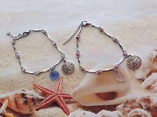 RHINESTONE  BRACELET PINK BLUE SEAGLASS SAND DOLLAR CHARM BEACH WEAR JEWELLERY